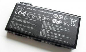 Close up view of a lithium-ion laptop battery