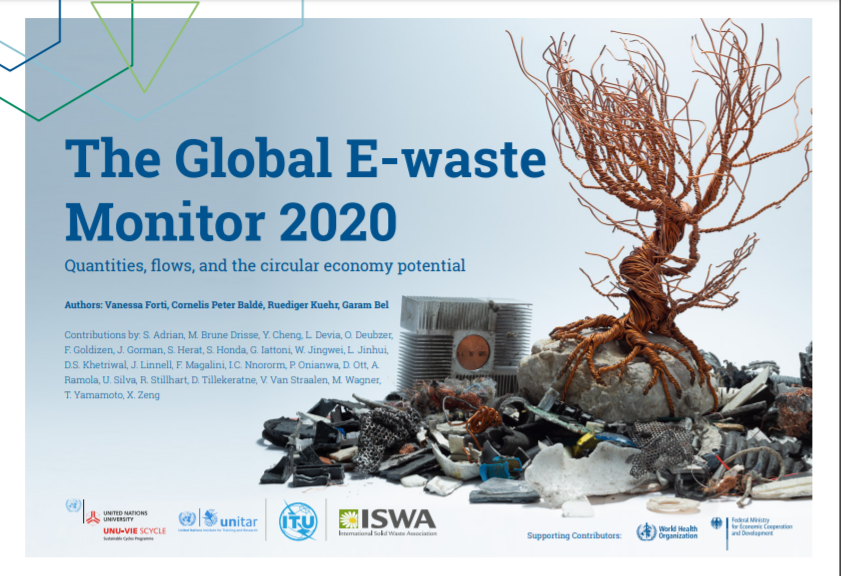Cover of Global E-waste Monitor 2020 report